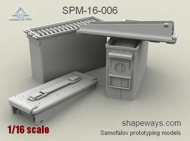 1/16 SPM-16-006 .30cal (7,62mm) ammobox opened in Smoothest Fine Detail Plastic