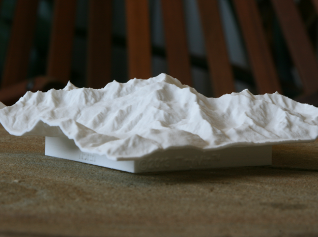 4''/10cm Mt. Blanc, France/Italy 3d printed Low-angle view of 10cm model