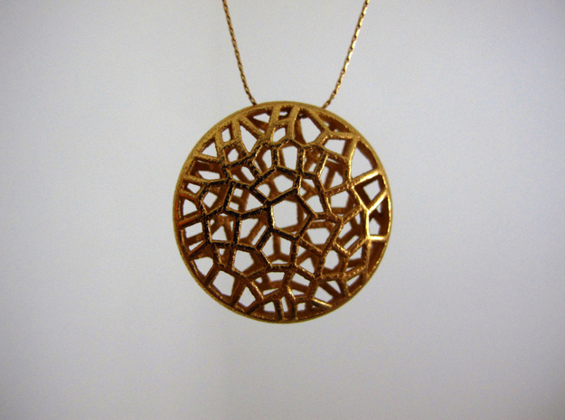 Bio Cell Pendant 3d printed Gold Plated Glossy