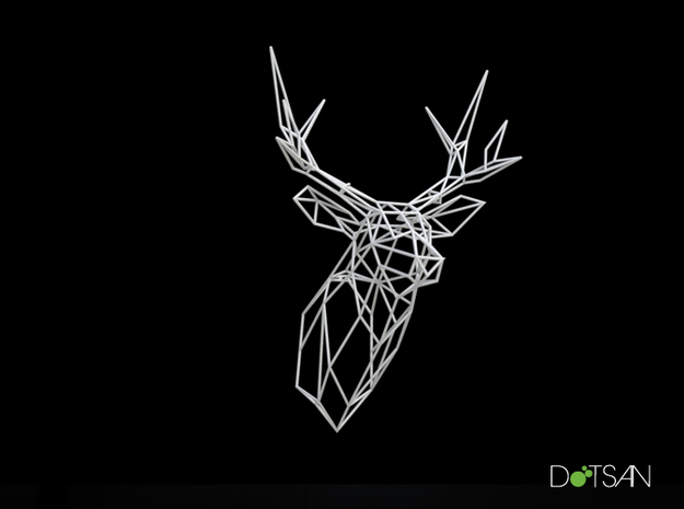 Stag Deer Trophy Head 300mm High Facing Forward in White Natural Versatile Plastic