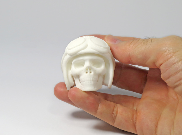 Easy Rider Skull (50mm H) in White Strong & Flexible