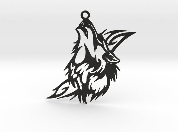 Wolf Pendant in Black Acrylic