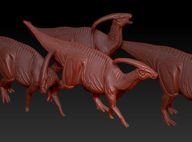 1/72 Parasaurolophus - Prone Alternate 3d printed Example of several models from the Herd Set.