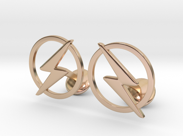 Flash Cufflinks in 14k Rose Gold Plated