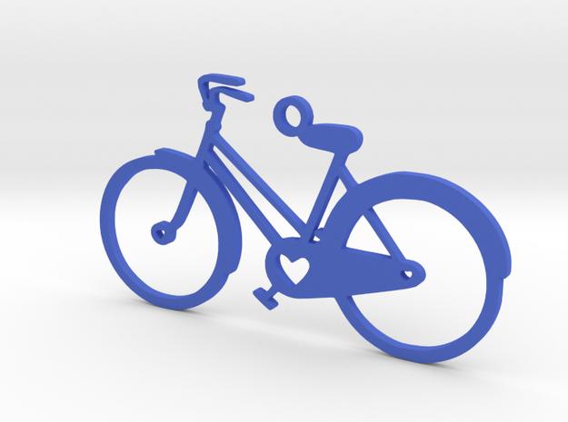 Bicyle Heart Pendant in Blue Processed Versatile Plastic