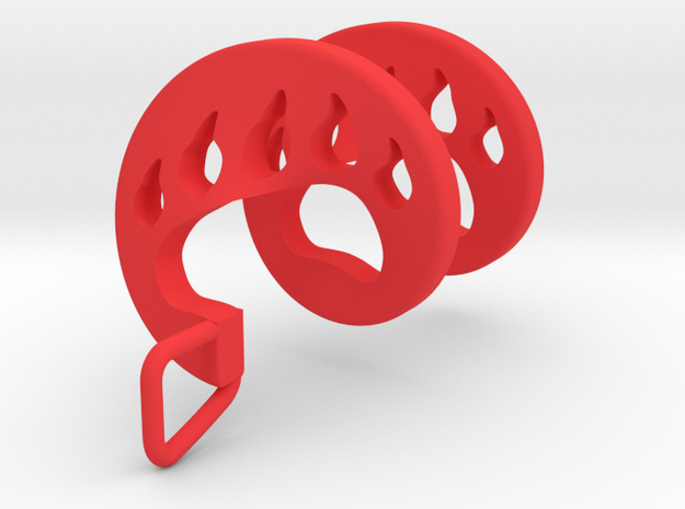 Bear Paw Spiral Pendant in Red Processed Versatile Plastic