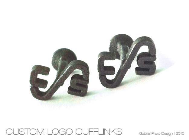Custom Logo Cufflinks in Polished Grey Steel