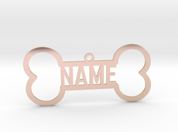 Your Name Bone Pendant in 14k Rose Gold Plated Brass