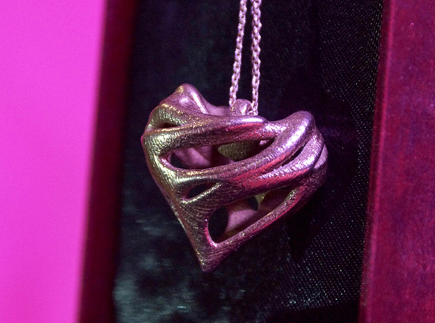 Alien Heart Pendant in Polished Bronzed Silver Steel
