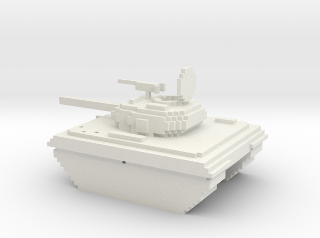 Voxel battle tank in White Natural Versatile Plastic