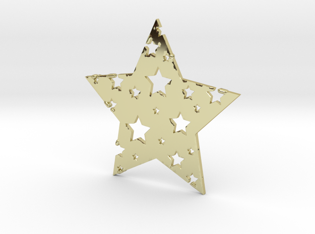 Funky Star in 18k Gold Plated Brass