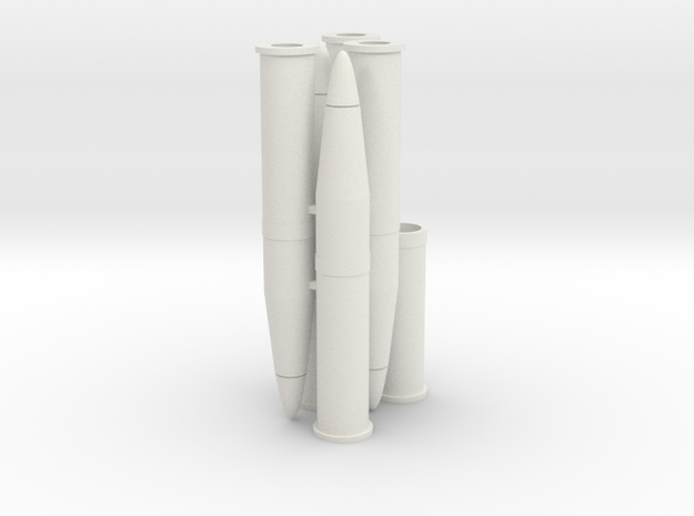 Six 1/16 scale 105mm Howitzer Shells in White Natural Versatile Plastic