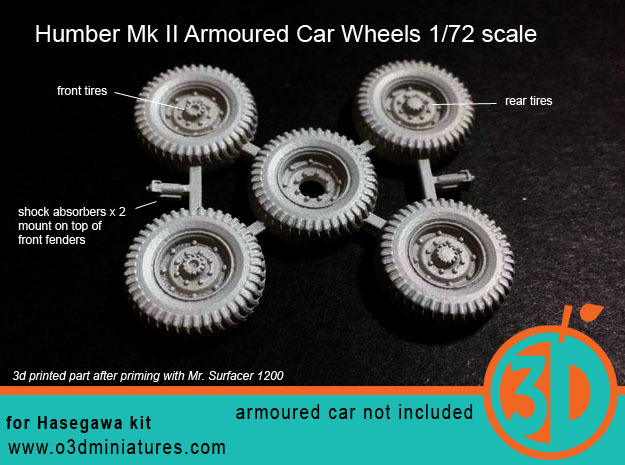 Humber Mk II Tires 1/72 scale SWFUD-72-007 in Smooth Fine Detail Plastic