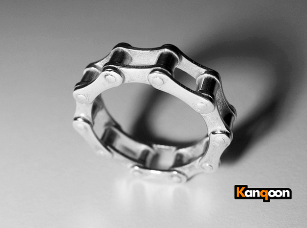 Violetta S - Bicycle Chain Ring - US 9 - 19 mm 3d printed Polished Silver printed