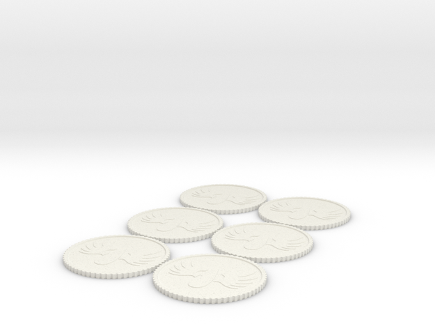 Winged Blood Drop Tokens (1,2,2,3,3,4) Roman Numer in White Natural Versatile Plastic