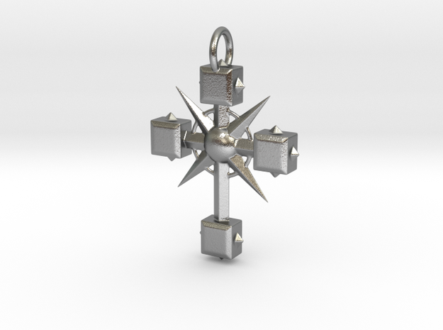 Pendant Cross And Spikes 01 - MCDStudios in Raw Silver