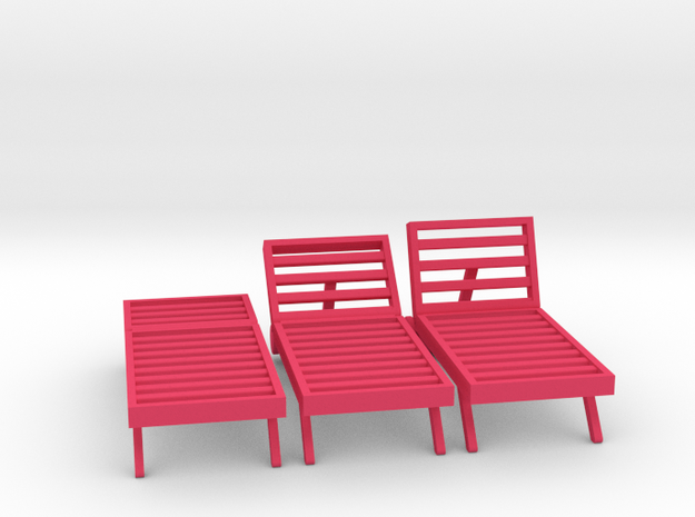 Poolside Chairs (3x), 1:48 dollhouse / O scale in Pink Processed Versatile Plastic