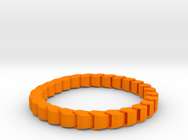 Chained Bracelet in Orange Processed Versatile Plastic