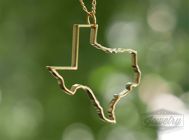Texas Outline Pendant in Polished Brass