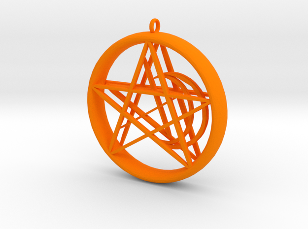 1.5in Pentacle Floating Moon n Star Pendant 3d printed