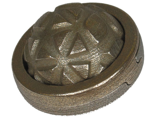 Ring World metal in Polished Bronzed Silver Steel