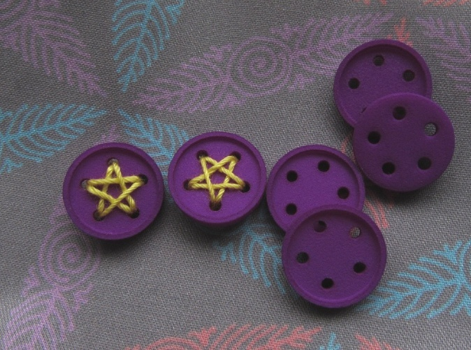 star buttons printed in Violet S&F