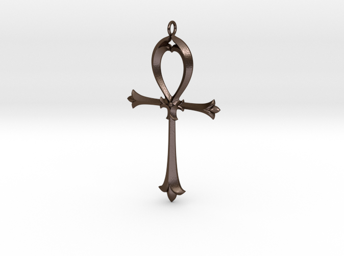 Nouveau Ankh in Polished Bronze Steel