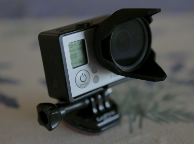 HERO3 Sunhood with 37mm filter in place
