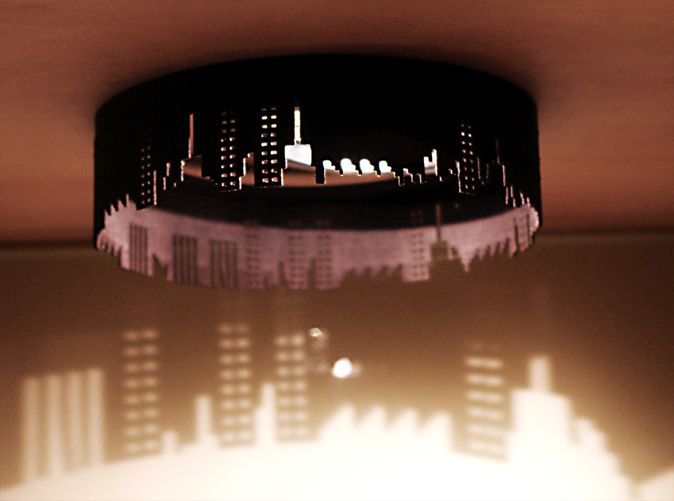 Lamp shade with city skyline