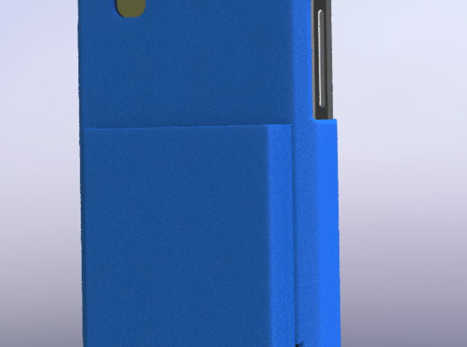 Back of case, showing speaker port (3D Rendered)