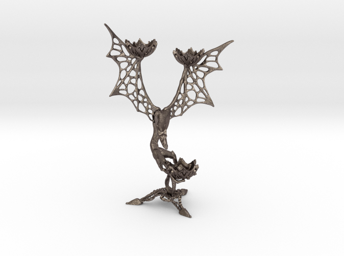 3D printed candle holder LUX DRACONIS 001 in steel