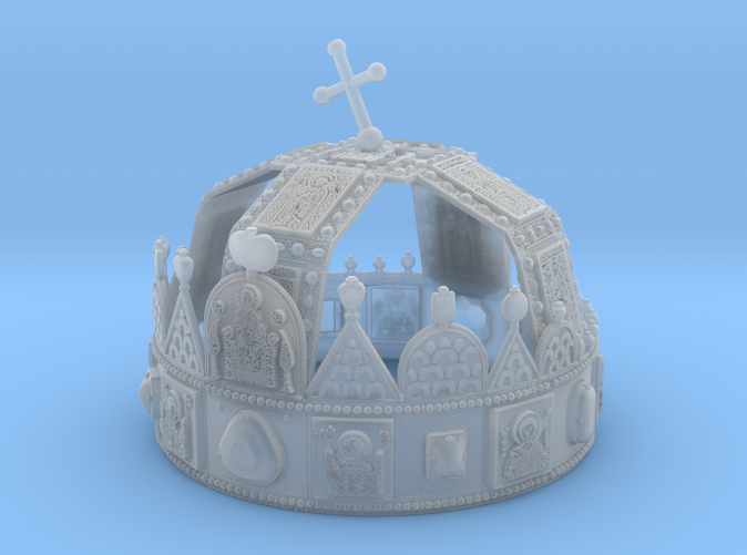 """3dprinted model of """"Hungarian Holly Crown - half scale"""". Material: Frosted Ultra Detail."""