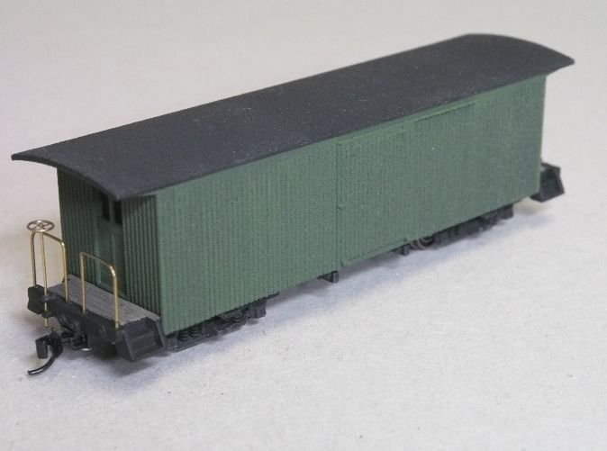 Painted model, with added trucks,coupler,brass handrails etc.