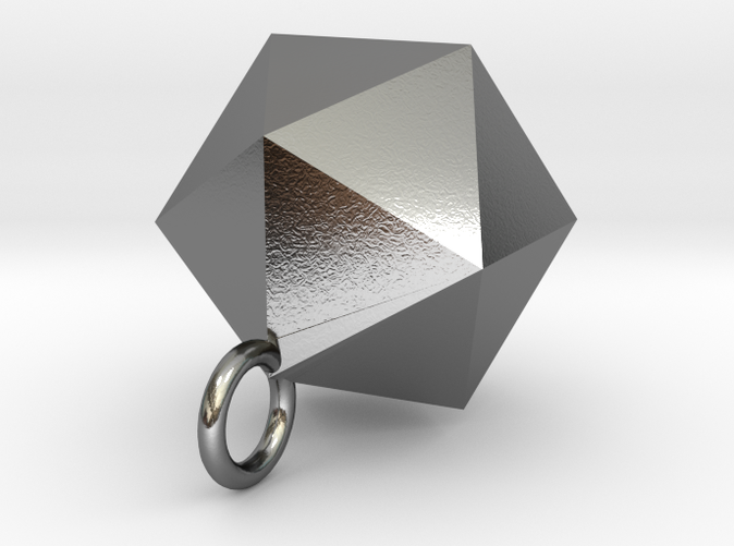 Icosahedron Pendant in Polished Silver Solid Form (different materials have different prices)
