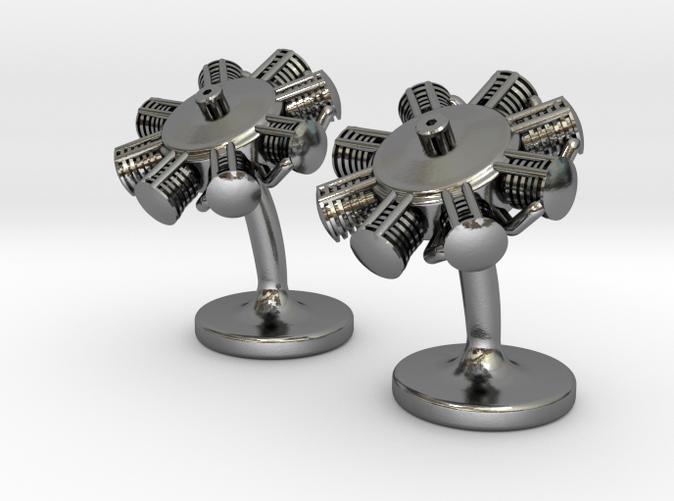 Radial engine cufflinks polished silver