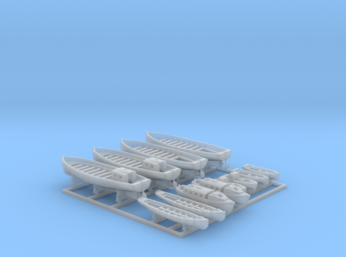 1/600 WW2 Royal Navy Boat Set 2 with Mounts