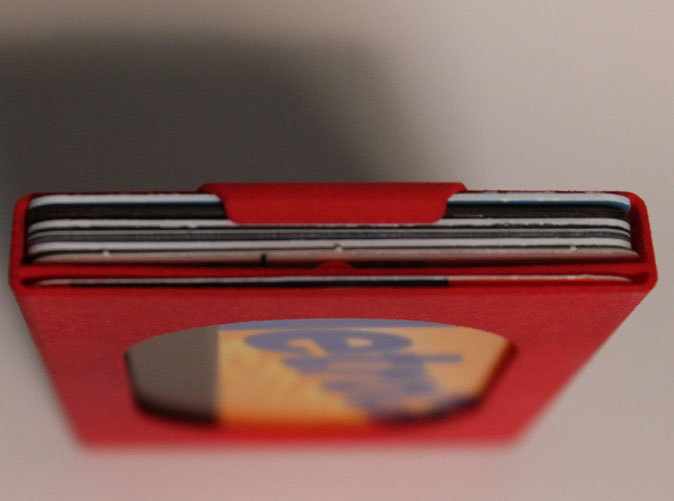 Top view. The slim wallet works well with 4-6 standard cards. The MetroCard is in a separate slot.