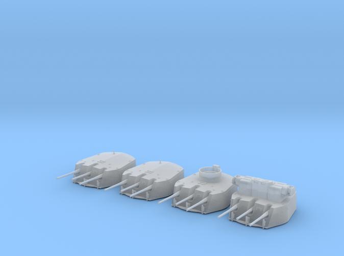 """1/350 RN Triple 6"""" MKXXIII Turrets (4) HMS Fiji"""