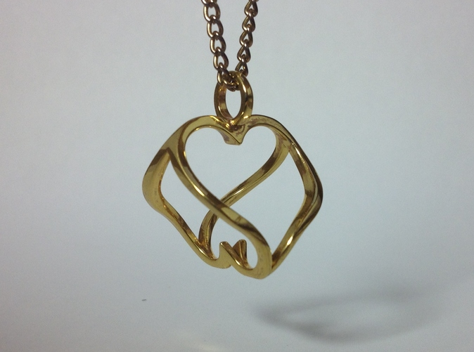 Heart to Heart Pendant in Gold Plated Brass