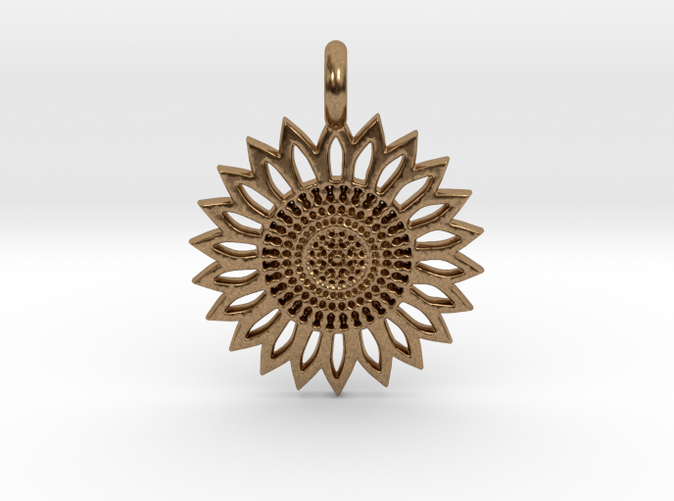 A Sunflower Earring in brass is shining.