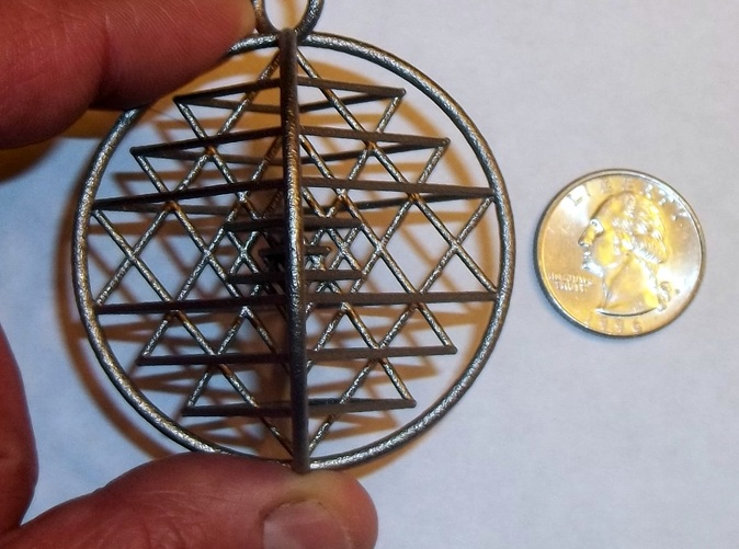 3D Sri Yantra Pendant Alternate in Polished Nickel Steel