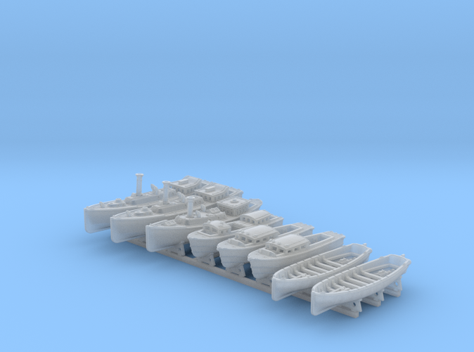 1/500 WW2 RN Boat Set 4 with Mounts