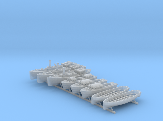 1/350 WW2 RN Boat Set 4 Without Mounts