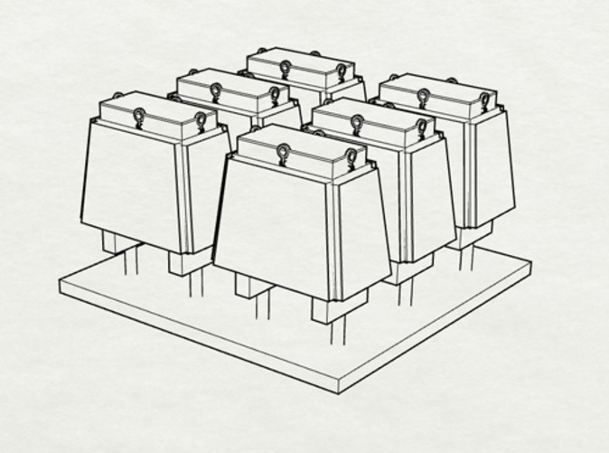 Rendering of the small ammo boxes in a group of six.