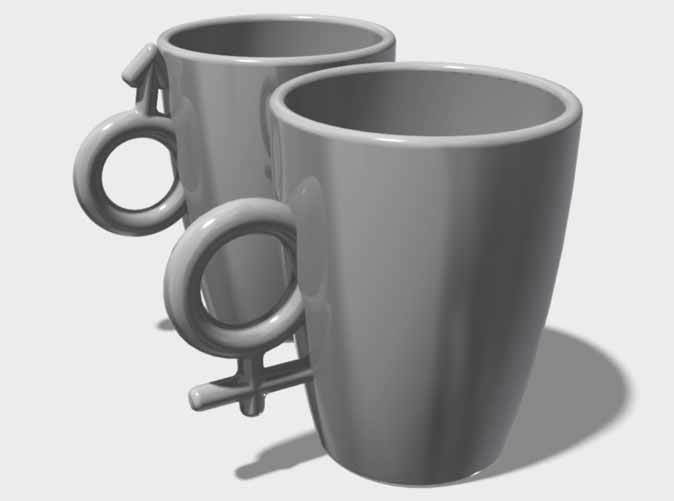 """Large Coffee Cups, """"His & Hers"""""""