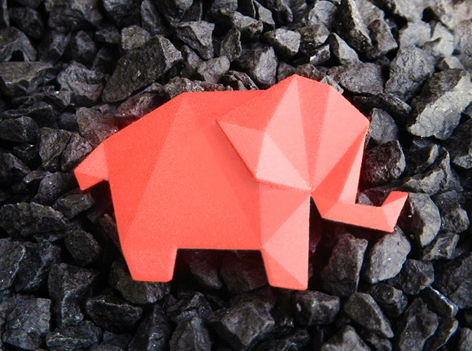 Origami Elephant Pendant in Red, Lovely present for Valentines!
