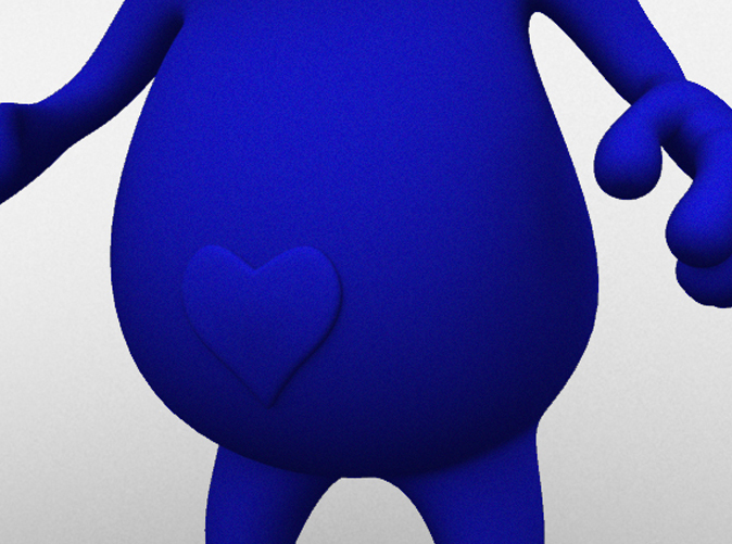 close up render of heart-shaped belly button