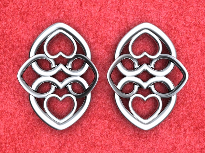 Heart motif earrings front. NOTE: Order 2 for a pair.