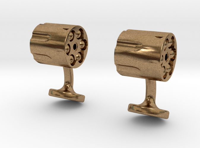 revolver cufflinks raw brass
