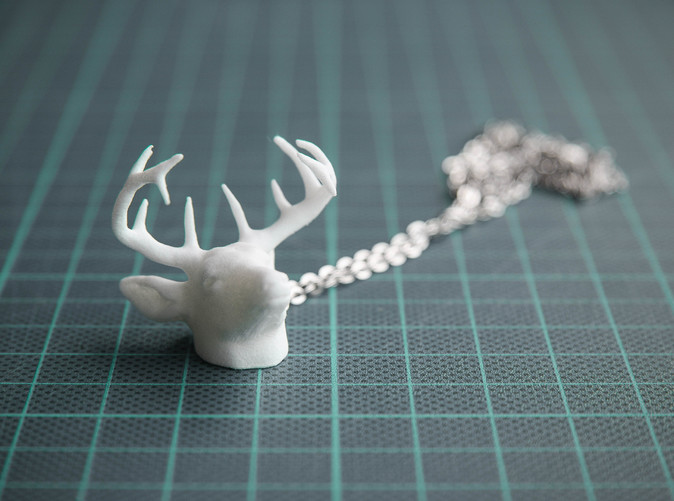 Deer Head Pendant - White